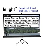 #2: Inlight Cineview Series Tripod Type Projector Screen 6 Ft. (Width) x 4 Ft. (Height) In Imported High Gain Fabric, Comes With Tripod Stand, Supports 3 D and Full HDTV Format
