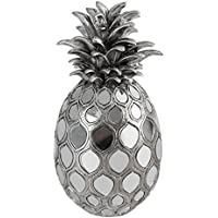 Burkina Home Decor Piña Decorativa L, Resina, Plateado, 14x14x26 cm
