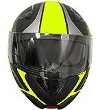 Klapphelm Integralhelm Helm Motorradhelm RALLOX 109 schwarz gelb neon grün matt mit Sonnenblende (S, M, L, XL) Größe M - 6
