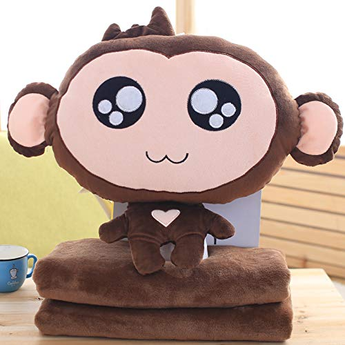 DONGER Creative And Pretty Pillow Quilt Double Use Pillow Dual Use Monkey Pillow That Can Warm Up The Girl, Figure 4, Removable And Washable Blanket Three In One