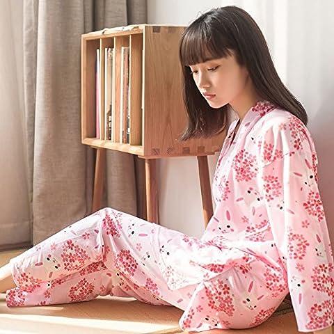 Cherry Blossom Bunny Japanische Kimono Pyjamas Zwei Anzug Cardigan Hause Service,Rosa,M (Cool 2 Person Kostüme)