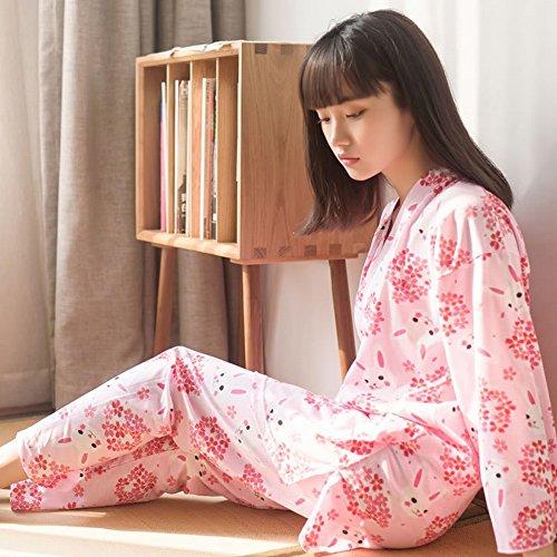 SED Cherry Blossom Bunny Japanische Kimono Pyjamas Zwei Anzug Cardigan Hause Service,Rosa,L