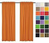 Sonnenschutz und Sichtschutz 2er Pack Vorhänge mit Tunnelband (Orange 6, Stoffmuster) Dekorative Blickdicht 2 Stücke Gardinen, Vorhang Schal für Schlafzimmer, Kinderzimmer, Wohnzimmer 40 FARBEN!!