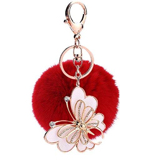 Keychain Weiße Pom Pom (Hangnuo 8cm Faux Pelz-Kugel mit Schmetterling Pom Pom Keychain Charms für Frauen-Beutel-Auto-Schlüsselring)
