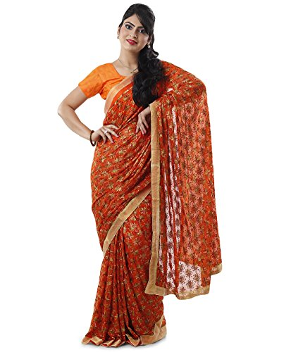 Orange Multi Phulkari Saree with Free Blouse
