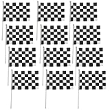 MagiDeal Pack of 12 Black & White Chequered Hand Waving Flag F1 Formula One Racing Banners