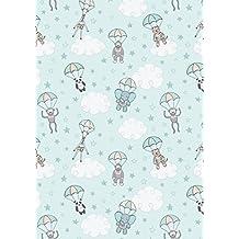 Guardería tela–Baby Animales Azul–lew295–0,5m 50cm x 110cm)–por Lewis y Irene–100% algodón