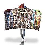 FimGGe Elephant Kapuzendecke Winter Wearable Thick Sherpa Fleecedecke Schlafsofa Throw für Erwachsene Kinder Joyous Cobija Cobertor-150cm * 200cm