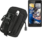 K-S-Trade Belt pouch/holster for Fairphone Fairphone 2, black | Extra compartments with space for Power bank, hard drive, etc (TM)