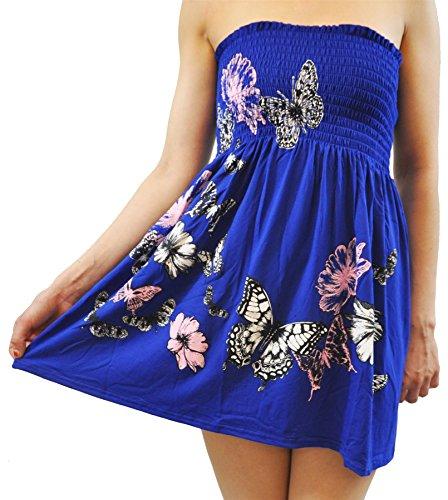 Neue Frauen Rosa Blumen Sheering Tops Schmetterling Gedruckt Oberteile 36-48 Royal Blue