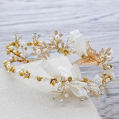 Bandas tocado de novia doble del cordón de Corea para el Pelo Adornos vestido de novia hecho a mano