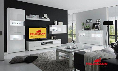 Wohnzimmer komplett 440904 weiß / weiß Hochglanz 6-teilig