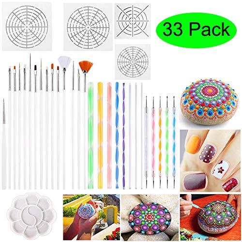 SDGDFXCHN Mandala Dotting Tools, 33 STÜCKE Dotting Tools Schablonen-Mandala-Malwerkzeug-Kits Pinsel Farbwanne zum Malen von Steinen Färben Zeichnen und Zeichnen Künstlerbedarf