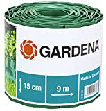 GARDENA Raseneinfassung 15 cm hoch: Ideale Rasen-Abgrenzung, auch für Beete, 9 m, verhindert Wurzelausbreitung, hochwertiger Kunststoff, grün (538-20)