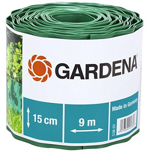 Gardena 538-20 Recinzione per Prato, Altezza 15 cm, Delimitazione Ottima per il Prato, Idonea anche per Aiuole, Plastica di Alta Qualità, Verde, 9 m