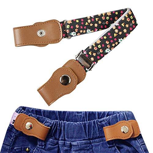 Kobwa hebilla de libre elástico Niños Cinturón, para et Chica, mujer Invisible cintura correa de cinturón sin hebilla para Jeans Pantalones/ropa (24 pulgadas, ajustable) de color negro azul blanco