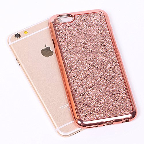iPhone 6 Plus Hülle,Bling Bling Case für iPhone 6S Plus,Ekakashop Kreative Rose Gold Glänzend Diamant Strass Glitzer Funkeln Sternen Star Soft Silikon Hybrid Back Case Flexible Gel Cover Defender Prot Rose Gold Glänzend