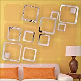 BEST DECOR 12 Square Silver(Pack Of 12)Acrylic Sticker, 3D Acrylic Sticker, 3D Mirror, 3D Acrylic Wall Sticker, 3D Acrylic Stickers For Wall, 3D Acrylic Mirror Stickers For Living Room, Bedroom, Kids Room, 3D Acrylic Mural For Home & Offices Dé