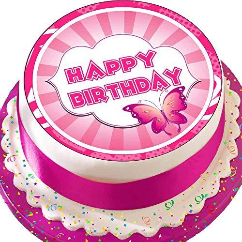 Cannellio Cakes vorgeschnittenen Essbarer Zuckerguss großen Kuchen Topper-19,1cm rund Happy Birthday mit Pink Butterfly