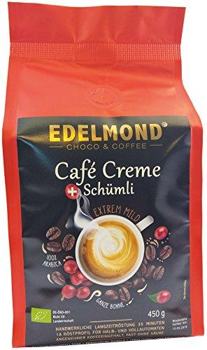Edelmond Bio Kaffee CREME Mild. Langzeitröstung Typ Schümli. Angenehmer Koffeeingehalt, Bio & Fairtrade von der Kooperative Comsa (450 g)