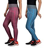 #9: Golazo Girl's Stretchable High Waist Compression Yoga Fitness Tummy tuck Sports And Gym Running Pant / Leggings for Womens free Size fits 28 To 36 Waist Combo of 2 leggings