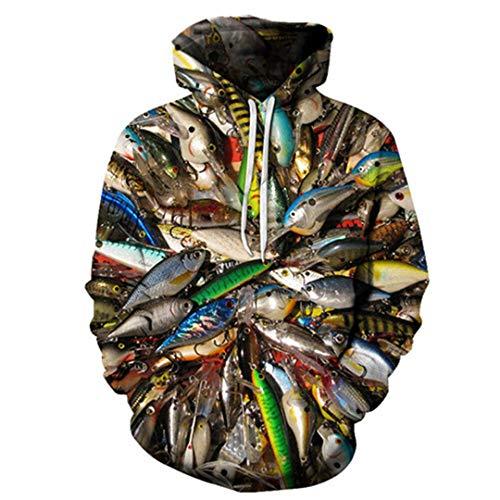 Grafik-jacquard-jacke (Lustige Fische 3D Hoodie gedruckt Hoody Männer Sweatshirt Pullover Trainingsanzug Anime Coat Streatwear Jacke HH115 5XL)