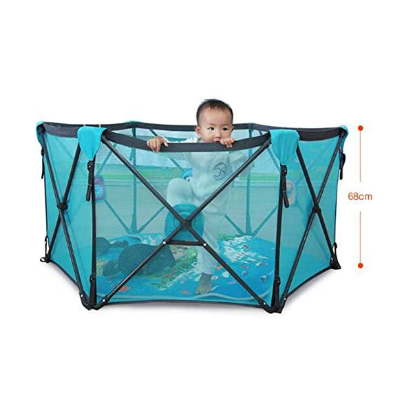 Playard Playpen Portable Washable Aqua Play Center Fence with Carry Case Indoor and Outdoor Play AA-SS-Playpens Use Anywhere: The portable play yard can be used both indoors and outdoors. Easy Clean: Simply wipe down with a damp cloth and soap to keep it fresh and sanitary. Spacious Area: The height of the fence is long enough for the baby to stand and walk while the area inside the yard is plentiful for them to explore around. 3