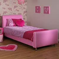 A & I Beds Azure Girls Pink 3Ft Single Faux Leather Bed
