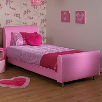A U0026 I Beds Azure Girls Pink 3Ft Single Faux Leather Bed   Pink