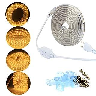 ALED LIGHT 220v Mains Voltage LED Strip Lights Rope Lights Warm White, 3M 360LEDs 2835SMD IP67 with UK Plug LED Tape, Ideal for Kitchen Lighting, Decking Lights, Plinth Lights, Garden Lighting