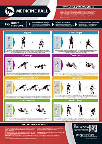 Medizinball Training Gym Poster | Ziele Muskelgruppen | verbessert Kraft Training | laminiert Gym & Home Poster | Kostenloser Online Video-Training Support | verbessert Fitness, Gloss Paper (A1) (Farbig Laminiertes Holz)