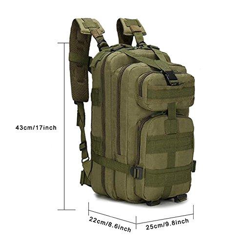 Zaino jian ya na, militare, tattico, da esterno, ideale per escursionismo, trekking, campeggio, combattimento, da uomo, borsa con sistema molle da viaggio da 25l, army green