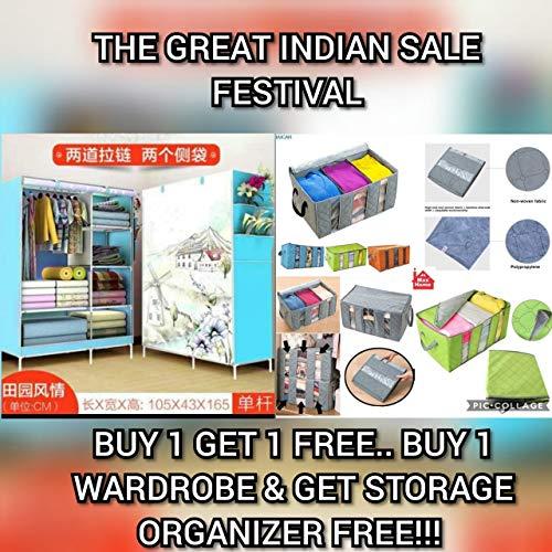 MaximHome Portable Fancy and Foldable Closet Wardrobe Cabinet,Storage Organizer with Shelves Folding Wardrobe (Capacity 70 kgs)(105X45X165cm,