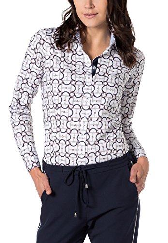 eterna Damen Bluse Slim Fit Langarm Marine Bedruckt mit Hemd-Kragen Blau (Marine  17
