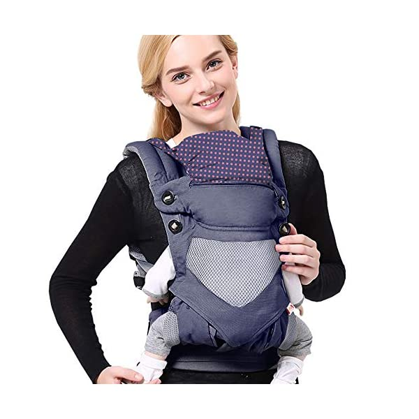 SaponinTree 4-in-1 Baby Carrier for Newborn, Breathable Adjustable Swaddle Wrap with Hood, Ergonomic Breastfeeding Baby Sling Carrier for Newborn to Toddler up to 20kg (0-48 Months) SaponinTree ☀.Premium Material - Baby carrier has high quality pure cotton fabric with 3D breathable air mesh take care of your health and the health of your baby. The adjustable wind cap provide warmth in the winter and freshness in the summer. Suit for baby who is 3-48 months and whose capacity is between 5-20KG. ☀.Comfort & Safety - The area near the abdomen reduces the pressure on the abdomen and gives more comfort to you and your baby. An adjustable shoulder belt and waist belt are made for safer carrying with a double-protection safety buckle eloquently designed just for maximum comfort for parent. ☀.4-in1 Ergonomic Carry Positions - Baby carrier ergonomic has four ways to wear, The Backpack, Kangaroo, Front-Facing, & Sling positions can all be used based on your mood and comfort. depending on different periods of growth, choose a way that best fits your baby's favorite. 1