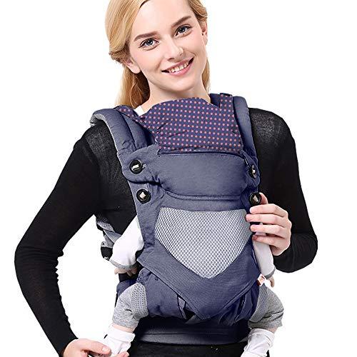 SaponinTree Ergonomische Babytrage, Reine Baumwolle Babytrage Rücken, Kindertrage für Neugeborene und Kleinkinder von 3 bis 48 Monat bis 20kg, Baby Tragesystem mit Verstellbare Kopfstütze