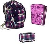 satch by Ergobag Berry Carry 3-teiliges Set Rucksack, Schlamperbox & Heftebox Lila