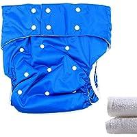 lukloy–adolescentes/adultos pañales pañal con 2inserciones para incontinencia atención–doble apertura bolsillo ajustable lavable reutilizable leakfree (azul oscuro)