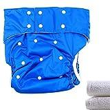 Lukloy–Teen/adulti panno pannolini pannolino con 2PCS inserti per incontinenza Care–Doppia apertura tasca lavabile regolabile riutilizzabile Leakfree (blu scuro)