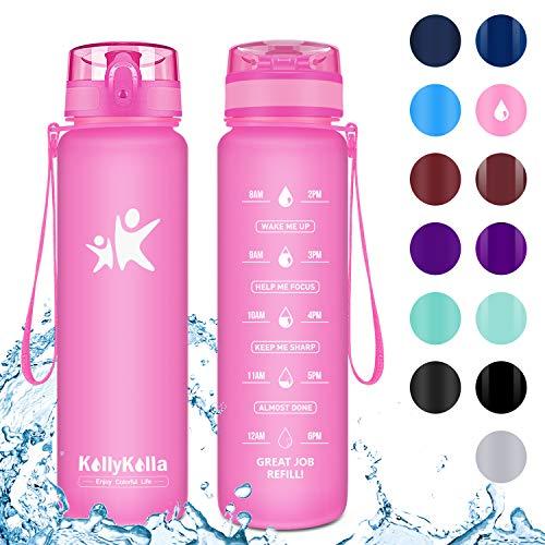 KollyKolla Trinkflasche - BPA-frei Auslaufsicher Sport Wasserflasche, 800ml Tritan Sportflasche Kohlensäure Geeignet Kunststoff mit Filter für Kinder, Schule, Baby, Fahrrad, Gym, Büro, Matte Rosa