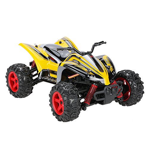 GoolRC 1:24 Scale RC OffRoad Bike RTR Racing Automobile Excessive Velocity 32km/h 4WD Electrical Energy Bike Offroad Truck(Yellow)