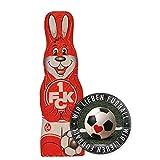 1.FC Kaiserslautern Schokoladen Osterhase, Schokohase 150 g FCK- Plus Aufkleber Wir lieben Fussball