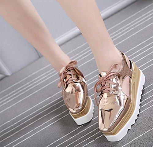 Mme Spring chaussures ascenseur Muffin chaussures à fond épais pente de tête carrée avec des chaussures chaussures de dentelle chaussures casual dames chaussures Pink