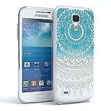 Samsung Galaxy S4 mini Schutzhülle Silikon Mandala Design I von EAZY CASE I Slimcover Henna, Handyhülle, TPU Hülle / Soft Case, Silikonhülle, Backcover, indische Sonne, transparent, Blau/Weiß