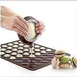 Dicoco Große Macaron Kit Silikon-Form zum Backen Set mit Topf rund Dekoration-Set Butter Squeezer Werkzeug Form macht 48(braun), Silikon, L