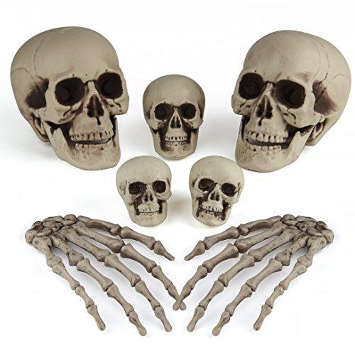 Kuuqa Halloween Knochen Dekorationen Skeleton Schädel Köpfe und Skeleton Hände für Halloween Friedhof Dekor Partei Versorgungsmaterialien 7 (Kostüm Skelett Ausdrucken)