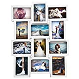 """Popamazing Multi Collage 12 Picture Photo Frames 6""""x4"""" Multiple Photo Holds Wall Set (White)"""
