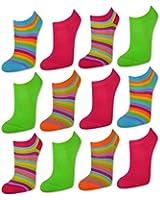 sockenkauf24 - Damen Neon Sneaker Socken Bunte Ringel 6 oder 12 Paar Damensocken Baumwolle - 36341