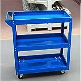 Tuff Concepts Heavy Duty Garage Trolley Workshop DIY 3 Tier Tool Storage Wheel Cart Shelf Tray (Blue)