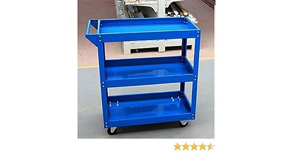 Blue with white wheel Tuff Concepts Heavy Duty Garage Trolley Workshop DIY 3 Tier Tool Storage Wheel Cart Shelf Tray
